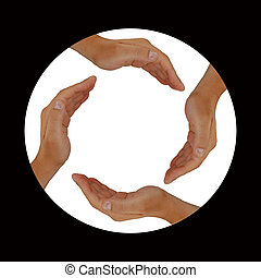 Circle of Hands - Black Framed Circle of Hands