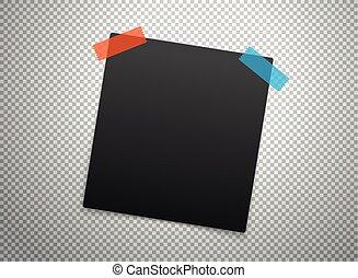 Black frames isolated on transparent background. Vector mockup