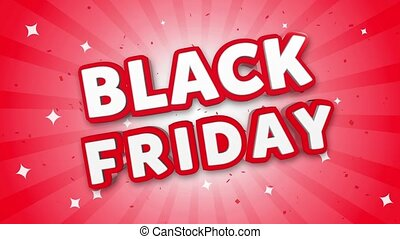 Black Friday 3D Text on Red Sparkling Falling Confetti Background. ad, Promotion, Discount Offer Sale Loop Animation.