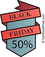 Black friday, 50 percent color gradient vector icon