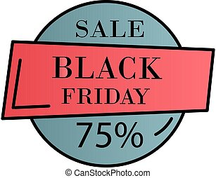Black friday, 75 percent color gradient vector icon