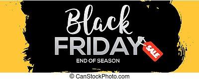 Black Friday abstract black ink splash banner template illustration. Black friday sale grunge label