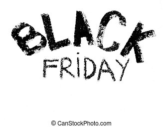 Black Friday advertisement handwritten with chalk on blackboard, isolated on white background, Black Friday sale concept, copy space available