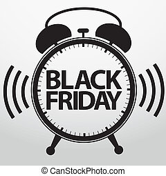 Black friday alarm clock icon, vector illustration