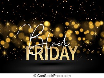 Black Friday background with glittery bokeh lights design