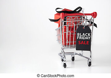 Black friday background with shopping cart