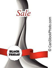 Black friday background with wave and ribbon