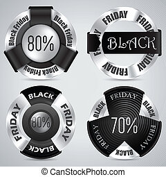 Black friday badge set of 4