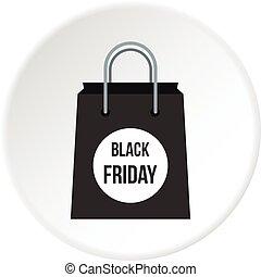Black Friday bag icon circle