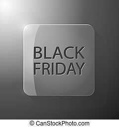 Black Friday banner on a glass button