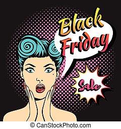 black friday banner - Vector pop art comic style web black...