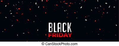 black friday banner with red and white confetti