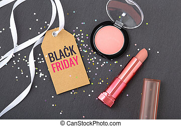 Black friday beauty and makeup sale concept