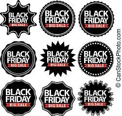 Black friday big sale signs set, black friday sticker set, vector illustration