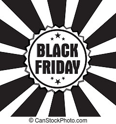 black friday label on special black and white background