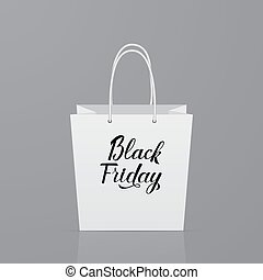 Black Friday calligraphy lettering on white paper shopping bag. Shopping and sale concept vector illustration. Eco packaging.