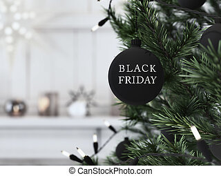 black friday christmas ball hanging on a christmastree. 3d rendering