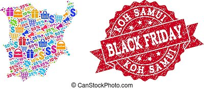 Black Friday Collage of Mosaic Map of Koh Samui and Distress Stamp