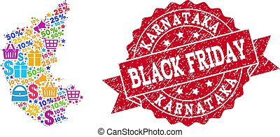 Black Friday Composition of Mosaic Map of Karnataka State and Scratched Seal