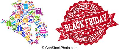 Black Friday Composition of Mosaic Map of Krasnodarskiy Kray and Textured Stamp