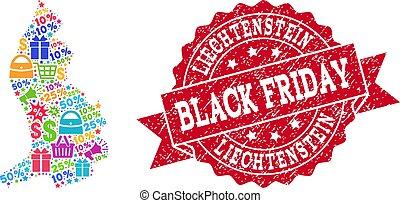 Black Friday Composition of Mosaic Map of Liechtenstein and Textured Stamp
