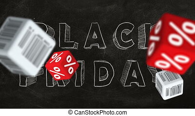 """Cubes with barcode labels and percent symbols falling down on background of """"BLACK FRIDAY"""" text. Concept of sale."""