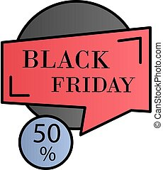 Black friday, discount, 50 color gradient vector icon