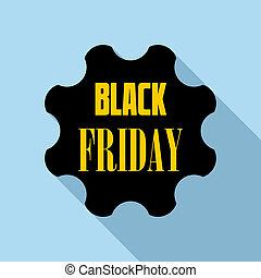 Black Friday emblem icon, flat style