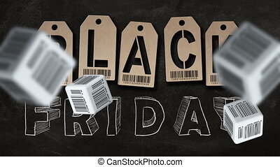 """Falling cubes with barcode labels on background of """"BLACK FRIDAY"""" text. Concept of sale."""