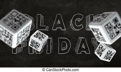 Black Friday - Falling cubes with QR code labels on...