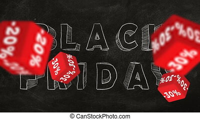 Black Friday - Falling red cubes with symbols of percent on...
