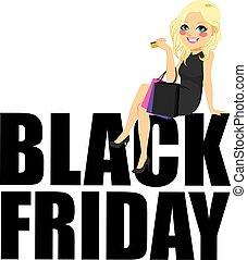 Black Friday Fashion Girl Text