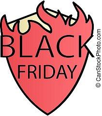 Black friday fire color gradient vector icon