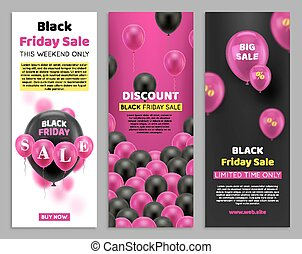 Black Friday flyers with balloon