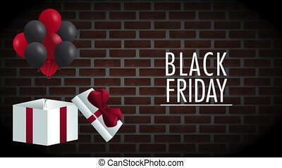 Black friday gift box open with balloons HD animation -...