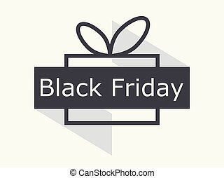 Black friday. Gift box with ribbon isolated on white background. Big discounts and sales. Vector illustration