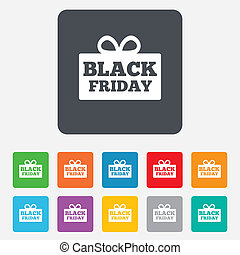 Black friday gift sign icon. Sale symbol. Special offer...