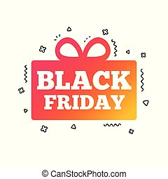 Black friday gift sign icon. Sale symbol. Vector