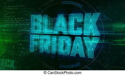Black Friday glowing hologram intro on dynamic digital...
