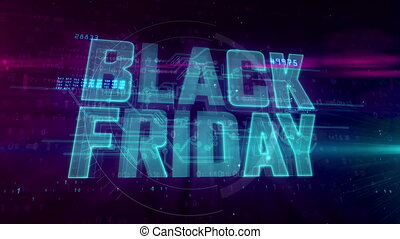 Black Friday glowing hologram intro on dynamic digital...