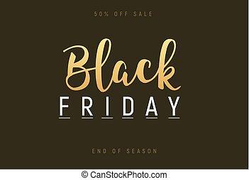 Black friday gold lettering handmade banner discount sale. Black friday label promo poster