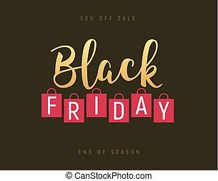 Black friday gold lettering handmade banner discount sale. Black friday label promo poster with shopping bag