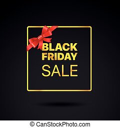 Black Friday golden frame. Black friday sale vector tag with red ribbon