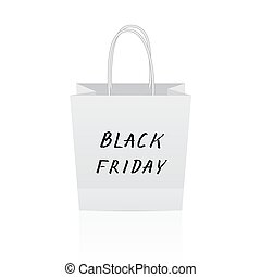 Black Friday hand written lettering on white paper shopping bag. Shopping and sale concept vector illustration. Eco packaging.
