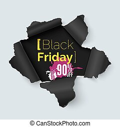 Black Friday hole in paper banner