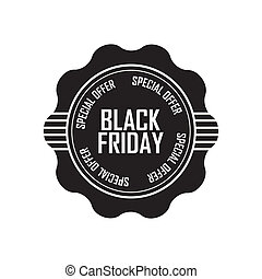 Black Friday - abstract black friday label on white...