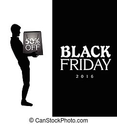 Black Friday - Black friday banner with a silhouette of a...