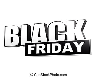 black friday in black white banner - letters and block -...