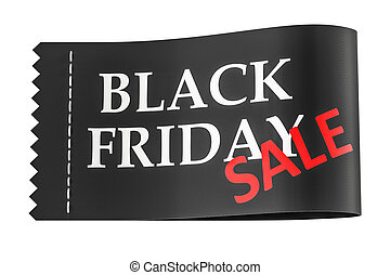 Black Friday inscription on the clothing tag, 3D rendering