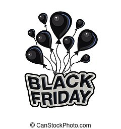 Black Friday label. Black air balloons and text Black Friday in a flat style on a white background.